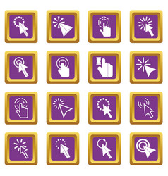 mouse pointer icons set purple vector image