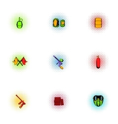 Paintball club icons set pop-art style vector