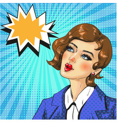 pop art of dreaming woman vector image vector image