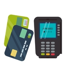 Pos terminal with inserted credit card and print vector