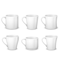 Realistic blank white coffee mugs with handle and vector