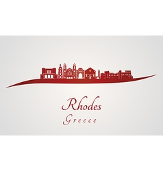 Rhodes skyline in red vector