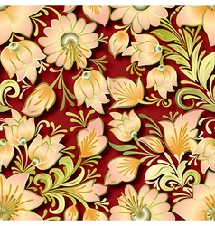 Seamless lighten floral ornament on red background vector