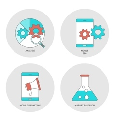 Seo outline flat icons vector image vector image