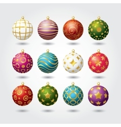 Set of color Christmas balls vector image