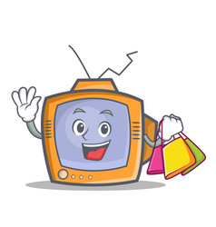 Shopping tv character cartoon object vector