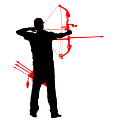 silhouette attractive male archer bending a bow vector image vector image