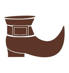 Silhouette brown with leprechaun shoe vector