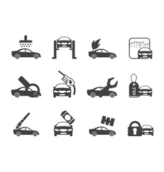 Silhouette car and automobile service icon vector