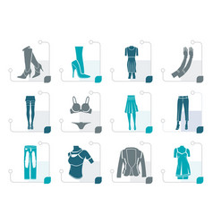 Stylized woman and female clothes icons vector