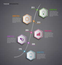 Time line info graphic with colorful hexagons vector