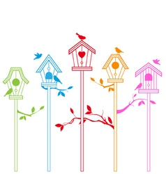 birds with houses vector image