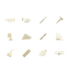 Wind instruments flat color icons vector