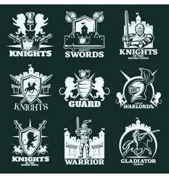 Knights monochrome emblems vector