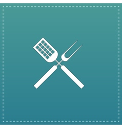 Barbecue utensils flat icon vector