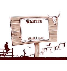 wanted paper on wood board for text vector image