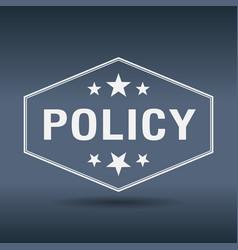 Policy hexagonal white vintage retro style label vector