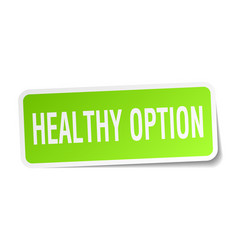 Healthy option square sticker on white vector