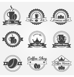 Set of coffee shop logos or vintage labels vector
