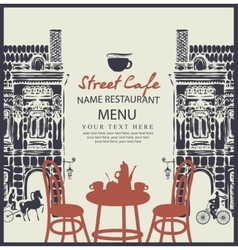 Street cafe with table vector