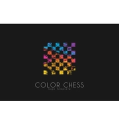 Chess logo Geometric logo Coloe chess logo vector image