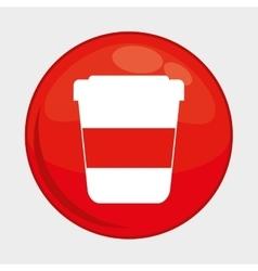 Coffee mug button icon social media design vector