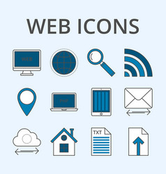 A set linear icons vector