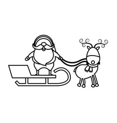 christmas santa claus reindeer sledge outline vector image