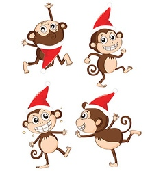 Christmas theme with monkeys wearing christmas hat vector image