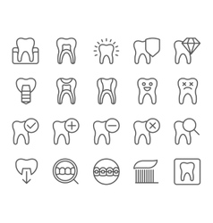 Dental flat thin line icons set vector image