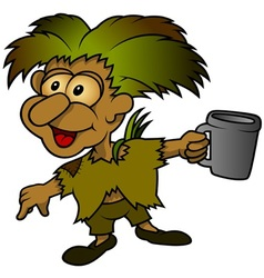Forest elf holding cup vector