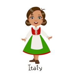 Girl in italy country national clothes wearing vector
