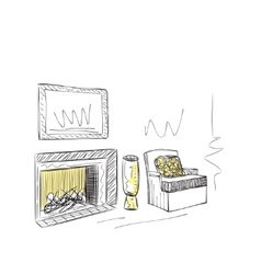 Hand drawn room interior vector