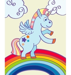 hand drawn unicorn rainbow vector image
