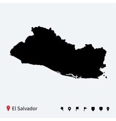 High detailed map of el salvador with navigation vector