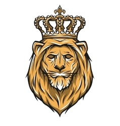Lion with a crown color version vector