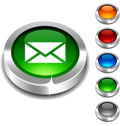 Mail 3d button vector