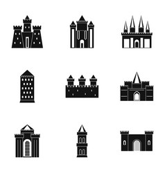 Medieval castles icon set simple style vector
