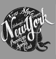 motorcycle helmet typography new york sports club vector image vector image