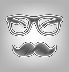 Mustache and glasses sign pencil sketch vector