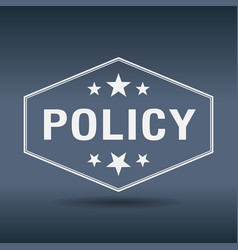 Policy hexagonal white vintage retro style label vector