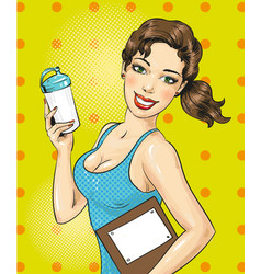 Pop art of fitness girl with vector