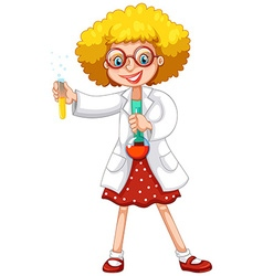 Scientist with test tubes vector image