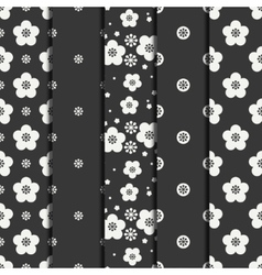 Set of monochrome abstract seamless floral pattern vector image