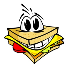 Smiling cartoon sandwich vector