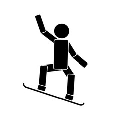 snowboarding icon on white background vector image vector image