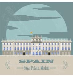 Spain landmarks Retro styled image vector image