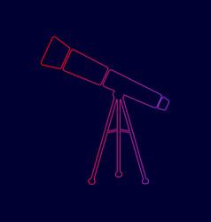 Telescope simple sign line icon with vector