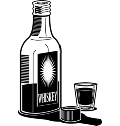 Whiskey and shot glass vector