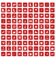 100 farm icons set grunge red vector